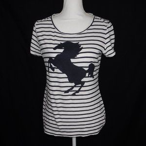 Crown & Ivy Striped Short Sleeve Horse T Shirt